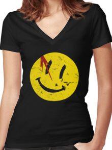 Watchmen Symbol Smile Vintage Women's Fitted V-Neck T-Shirt