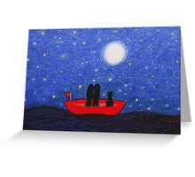 Boat with Couple and Cat, Moon and Stars Greeting Card
