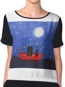 Romance: Couple and Cat in Boat with Moon and Stars Chiffon Top