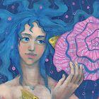 Little Mermaid, Underwater Fantasy Art, Pink & Blue by clipsocallipso