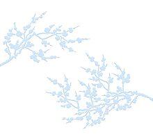 Cherry blossoms - light blue on white Photographic Print