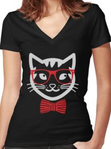 Hipster Nerd Cat - Humor Funny T Shirt Women's Fitted V-Neck T-Shirt