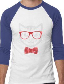 Hipster Nerd Cat - Humor Funny T Shirt Men's Baseball ¾ T-Shirt