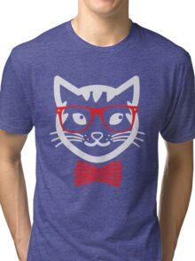 Hipster Nerd Cat - Humor Funny T Shirt Tri-blend T-Shirt