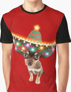 Chihuahua dog wearing a sombrero hat with Christmas lights Graphic T-Shirt