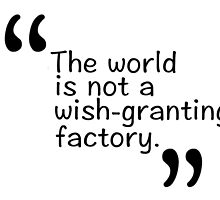 The world is not a wish-granting factory. by 3e3e