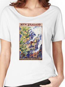 New Zealand Vintage Travel Poster Women's Relaxed Fit T-Shirt