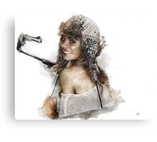 women with selfie stick Canvas Print