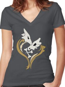 Lone Hearted ~ Cubone and Marowak  Women's Fitted V-Neck T-Shirt