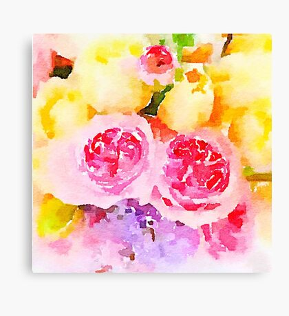Peonies,water color,hand painted,pin,purple,yellow,beautiful,art Canvas Print