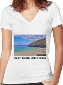 Keem Beach, Achill Island Women's Fitted V-Neck T-Shirt