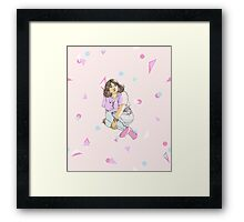 Fairy kei person sitting (pink) Framed Print