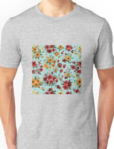 Seamless Pattern with Red and Yellow Flowers in Vintage Style Unisex T-Shirt
