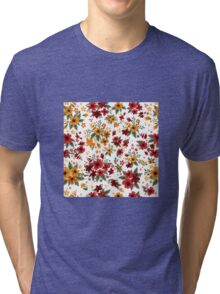 Seamless Pattern with Red and Yellow Flowers in Vintage Style Tri-blend T-Shirt