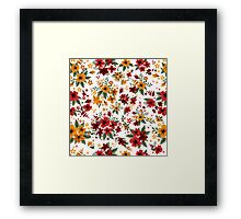 Seamless Pattern with Red and Yellow Flowers in Vintage Style Framed Print