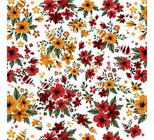 Seamless Pattern with Red and Yellow Flowers in Vintage Style Photographic Print