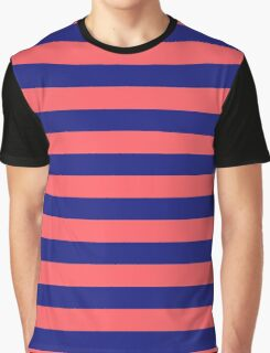 Pink x Blue stripes Graphic T-Shirt