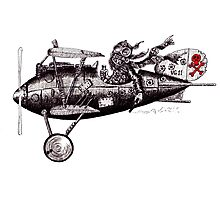 Funny crazy pilot on vintage plane. Black and white pen ink drawing Photographic Print