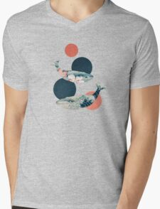 Whale and Polka Dots Mens V-Neck T-Shirt