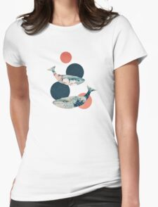 Whale and Polka Dots Womens Fitted T-Shirt