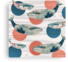 Whale and Polka Dots Canvas Print