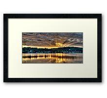 Golden Crepuscular Sunrise over Water. Framed Print