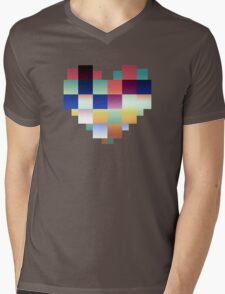 Digital Pixel Heart Mens V-Neck T-Shirt