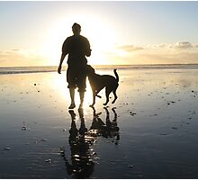 dog beach sunset Photographic Print