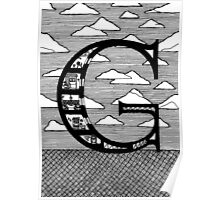 Letter G Architecture Section Alphabet Poster