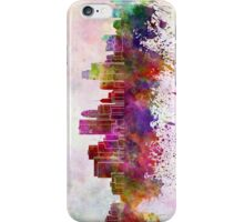 Minneapolis skyline in watercolor background iPhone Case/Skin