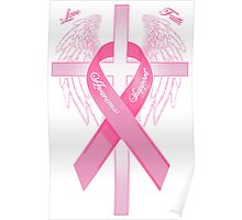 Pink Awareness Ribbon on the Cross Poster