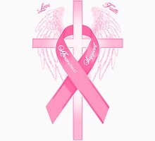 Pink Awareness Ribbon on the Cross Women's Fitted Scoop T-Shirt