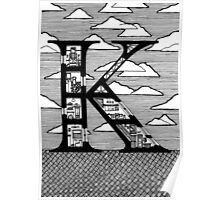 Letter K Architecture Section Alphabet Poster