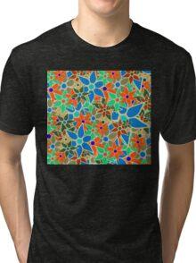 Trendy Floral Pattern Tri-blend T-Shirt