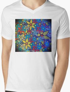 Trendy Floral Pattern Mens V-Neck T-Shirt