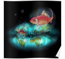 Goldfish Bubbles Poster