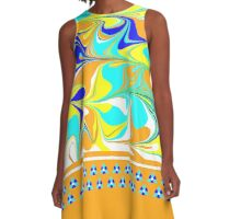 yellow, gold, aqua, blue mod swirl with sweet flower trim A-Line Dress