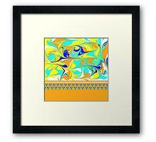 yellow, gold, aqua, blue mod swirl with sweet flower trim Framed Print