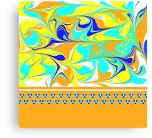 yellow, gold, aqua, blue mod swirl with sweet flower trim Canvas Print