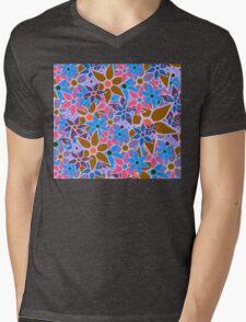 Trendy Floral Pattern Vintage Mens V-Neck T-Shirt