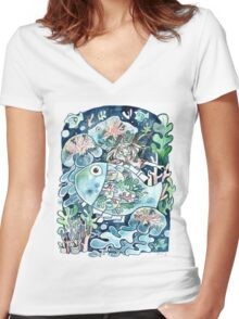 Deep Sea Diving Women's Fitted V-Neck T-Shirt