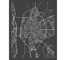 Seville Map, Spain - Gray Photographic Print