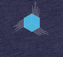 Blue Geometric Cube/Hexagon Tri-blend T-Shirt