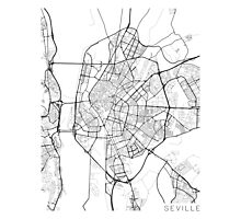 Seville Map, Spain - Black and White Photographic Print
