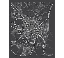 Valencia Map, Spain - Gray Photographic Print