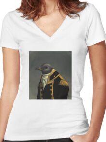 Captain Penguin  Women's Fitted V-Neck T-Shirt