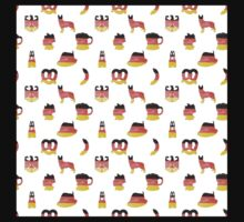 German Motifs in Hand-Painted Colors of German Flag One Piece - Short Sleeve