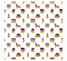 German Motifs in Hand-Painted Colors of German Flag One Piece - Long Sleeve