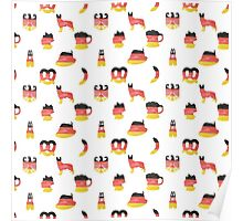 German Motifs in Hand-Painted Colors of German Flag Poster
