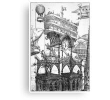Aircraft Station at Notre-Dame – Le Vingtième Siècle (Robida, Albert) Canvas Print